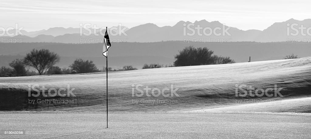 Desert Golf Course Panorama Monochrome stock photo