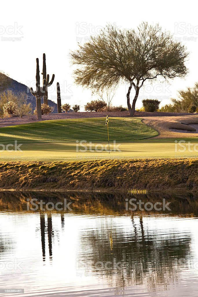 Desert Golf Hole in Phoenix Area royalty-free stock photo
