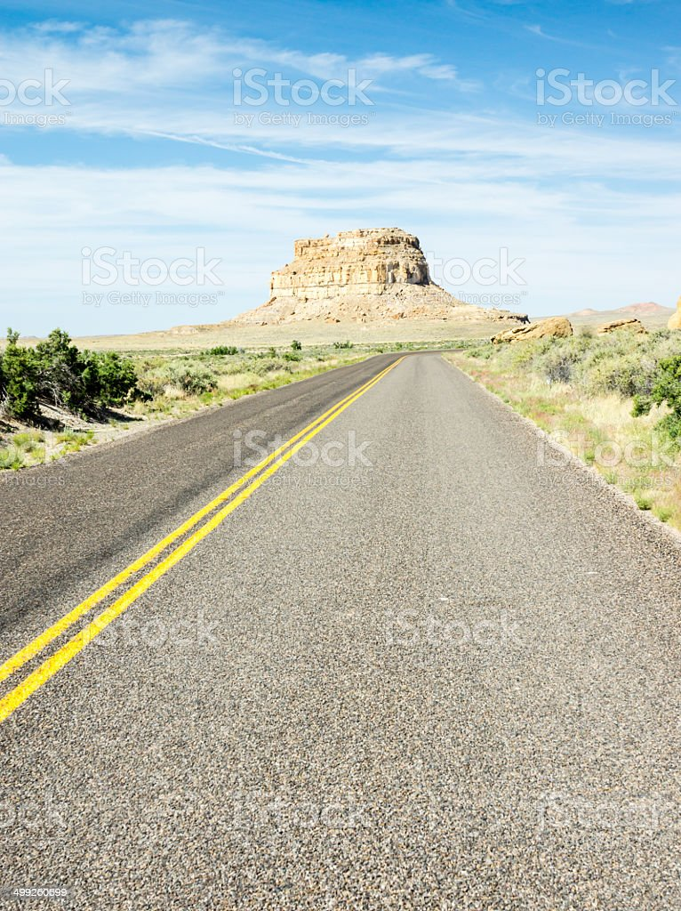 Desert Highway Approaching Chaco Canyon in New Mexico stock photo