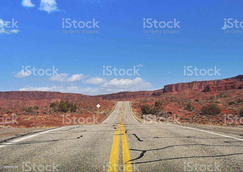 Desert highway, Scenic Byway 128, Moab, Utah, USA royalty-free stock photo