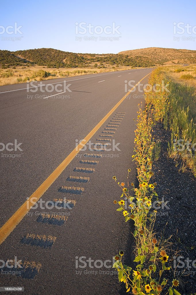 desert highway sunrise landscape stock photo