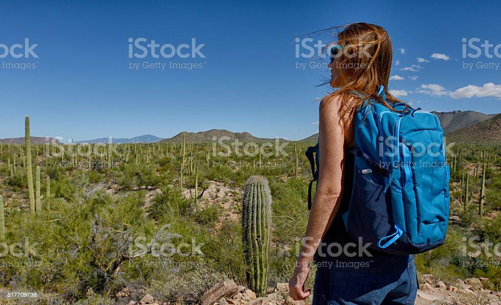 desert hike stock photo