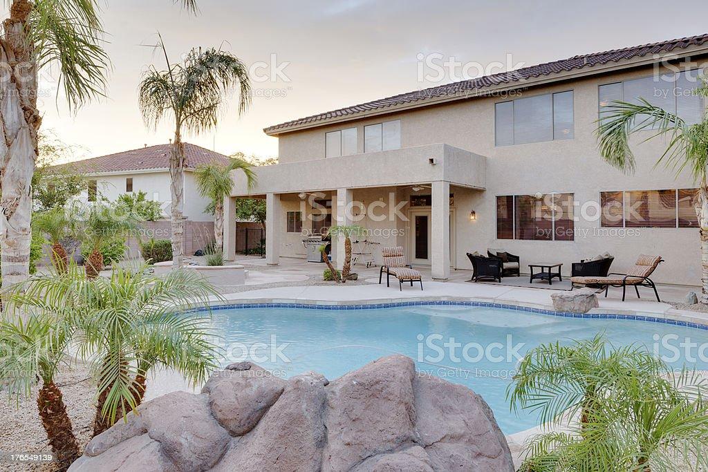 Desert home backyard. royalty-free stock photo