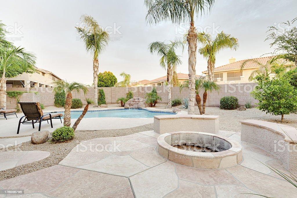 Desert home backyard. stock photo