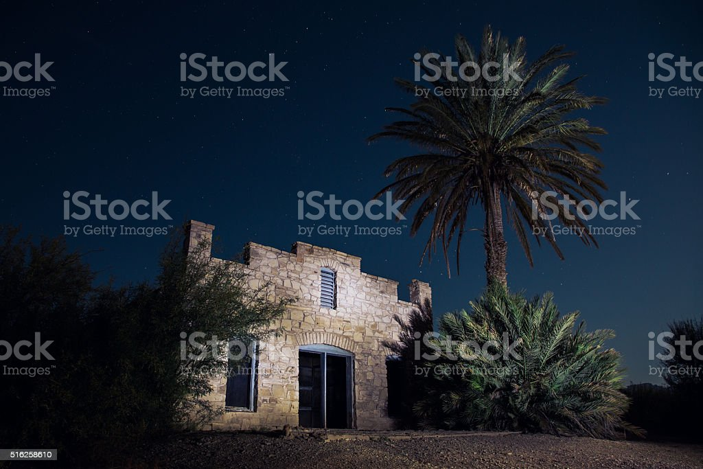 Desert Hot Springs Resort Ruins at Night stock photo