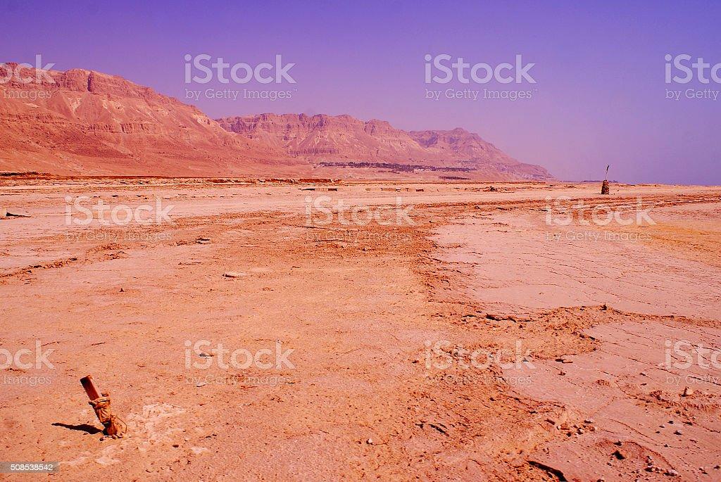 Desert in Israel on the coastal area of the Dead Sea stock photo
