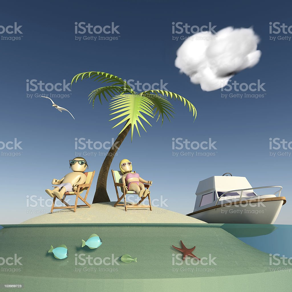 Desert island, couple and vessel royalty-free stock photo