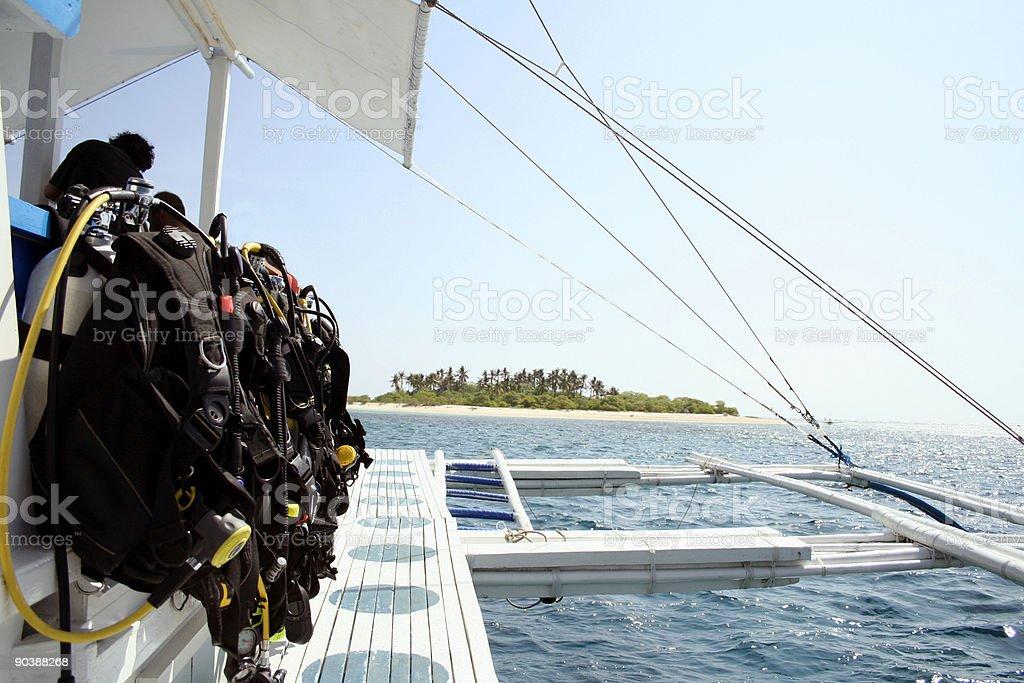 desert island scuba diving adventure stock photo