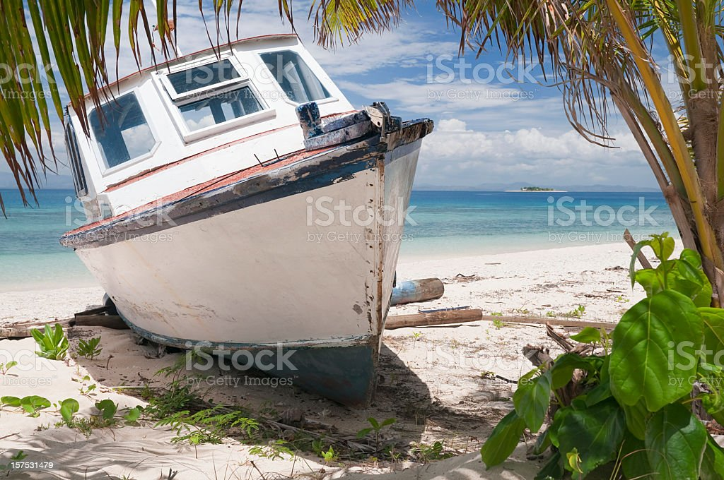 Desert Island Shipwreck stock photo
