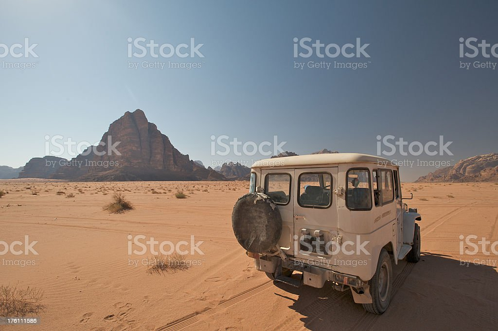 Desert Jeep Adventure in Jordan, Seven Pillars of Wisdom Background royalty-free stock photo