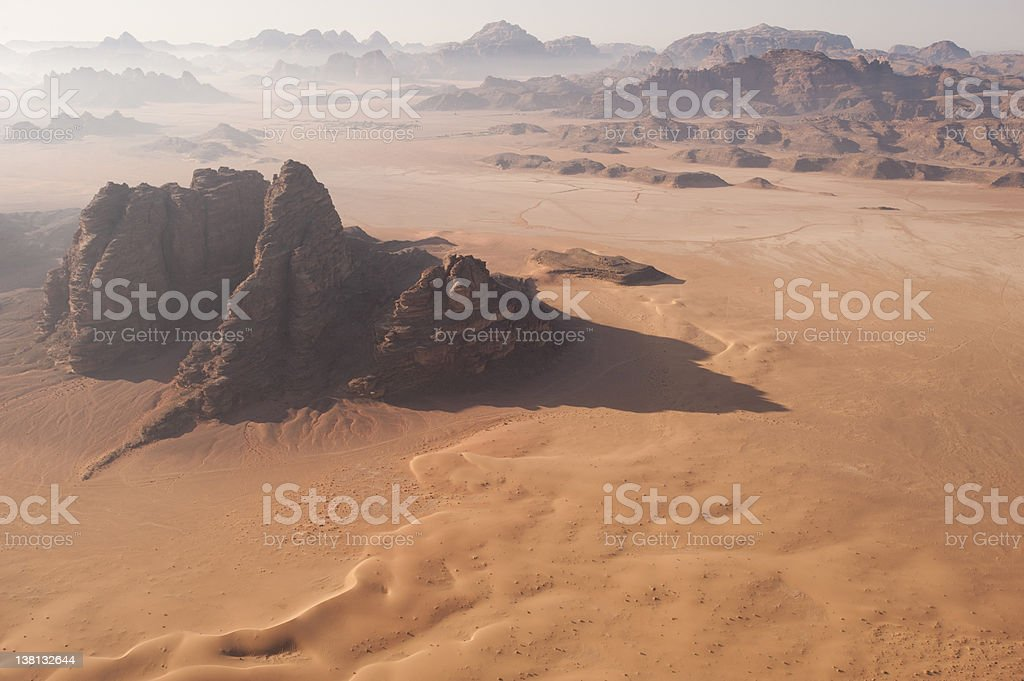 Desert Landscape at Dawn from the air stock photo