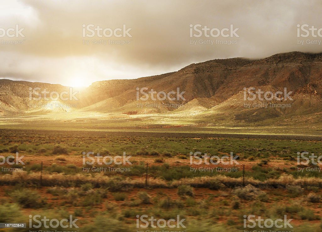 Desert landscape at sunset royalty-free stock photo