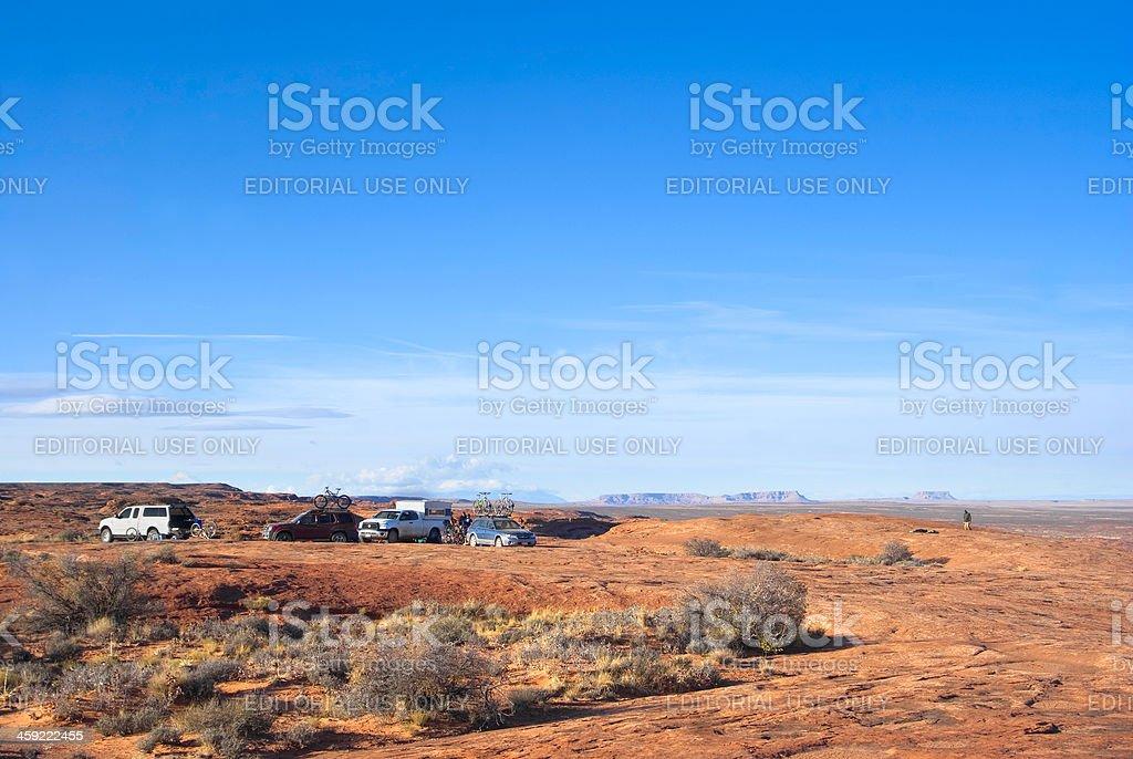 desert landscape car camping stock photo
