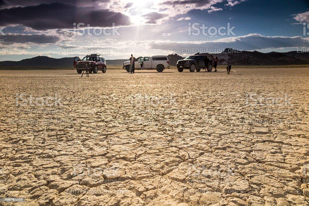 desert landscape film crew stock photo