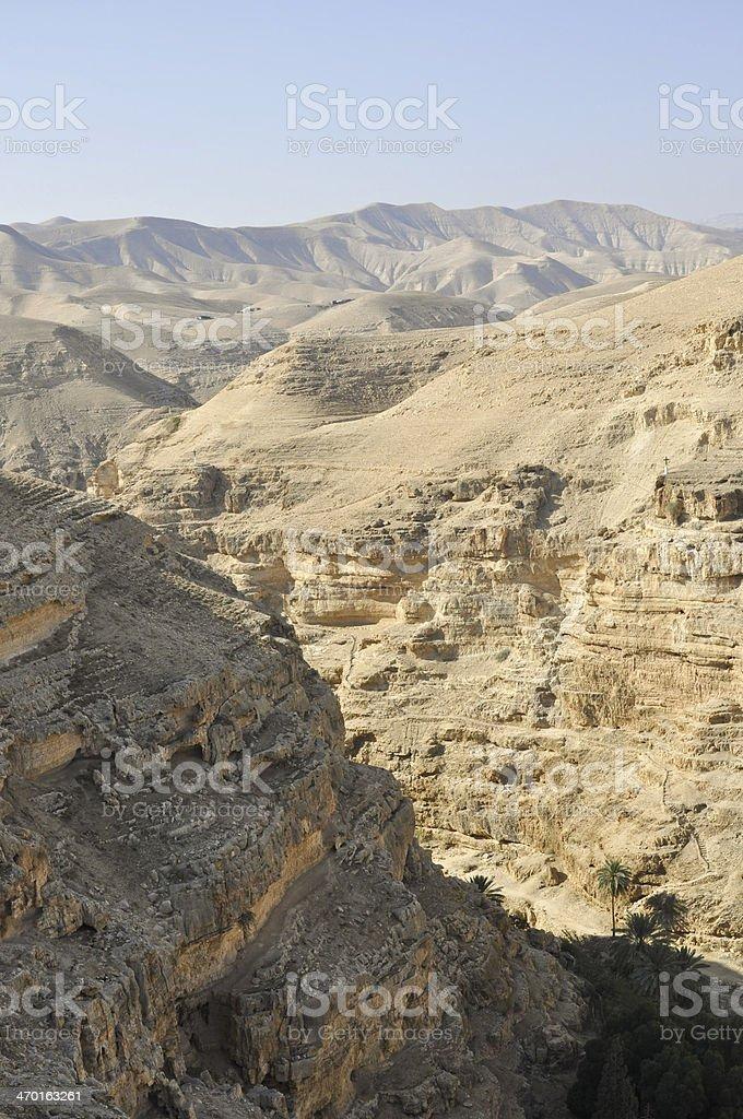 Desert landscape near Jerusalem, Israel. stock photo