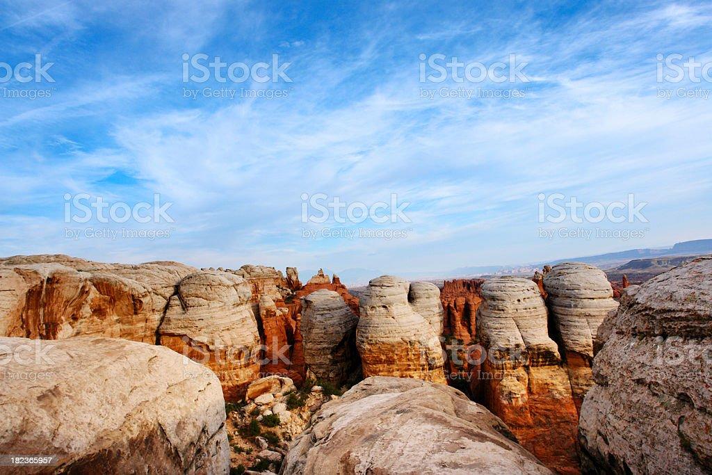 desert landscape sandstone sky rock formation stock photo