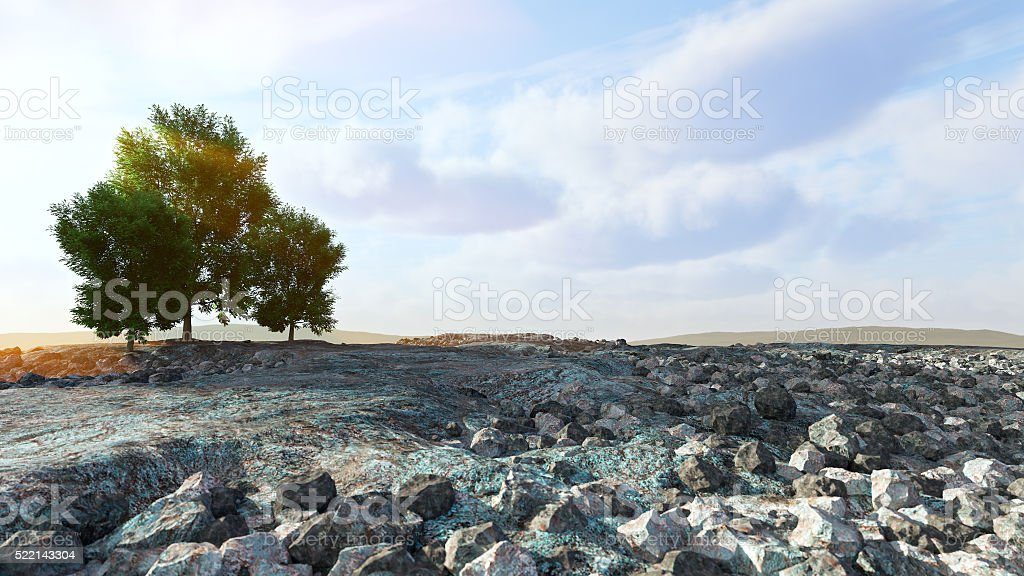Desert landscape with rocks and trees conceptual composition stock photo