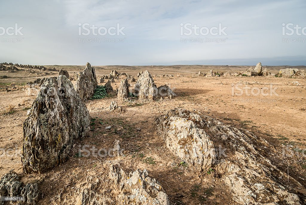 desert landscape with rocks stock photo