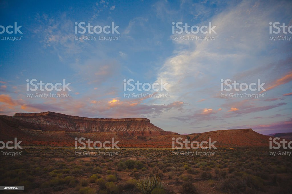 Desert like view on a red canyons stock photo