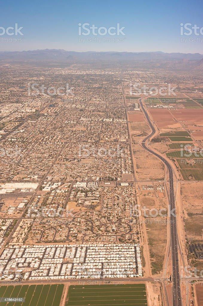 Desert meets city stock photo