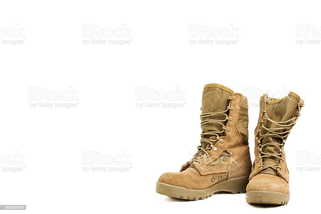 Desert military boots on a white background stock photo