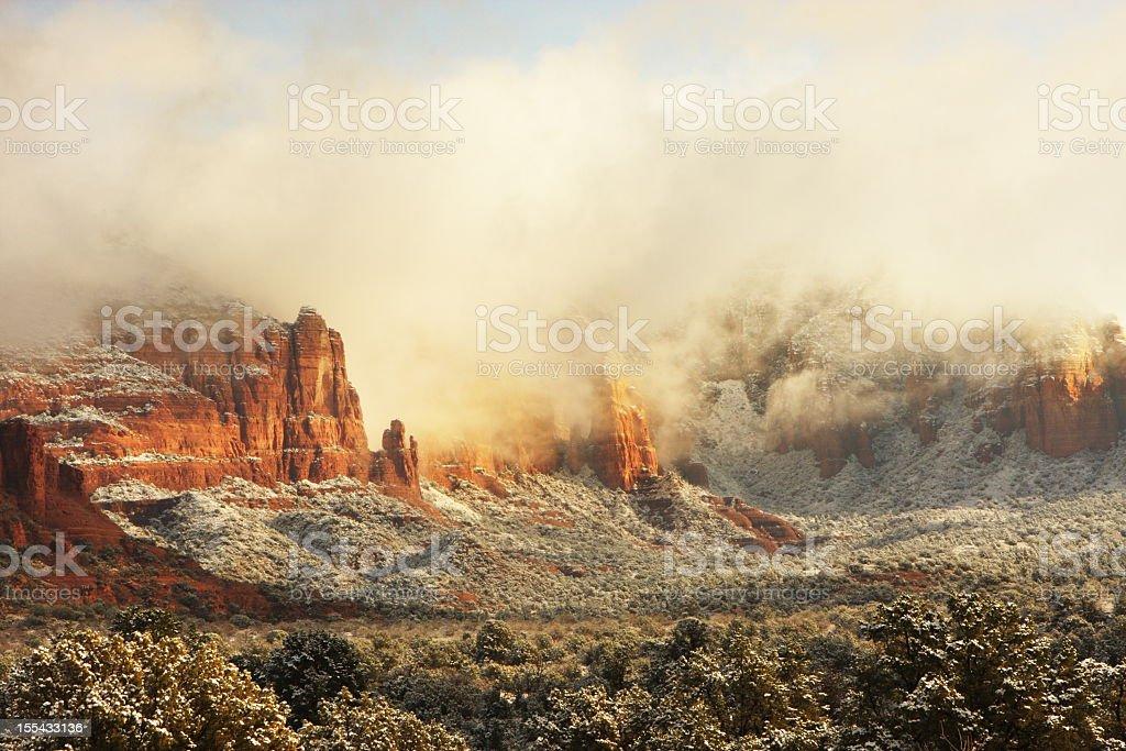 Desert Morning Mist Sedona Wilderness royalty-free stock photo