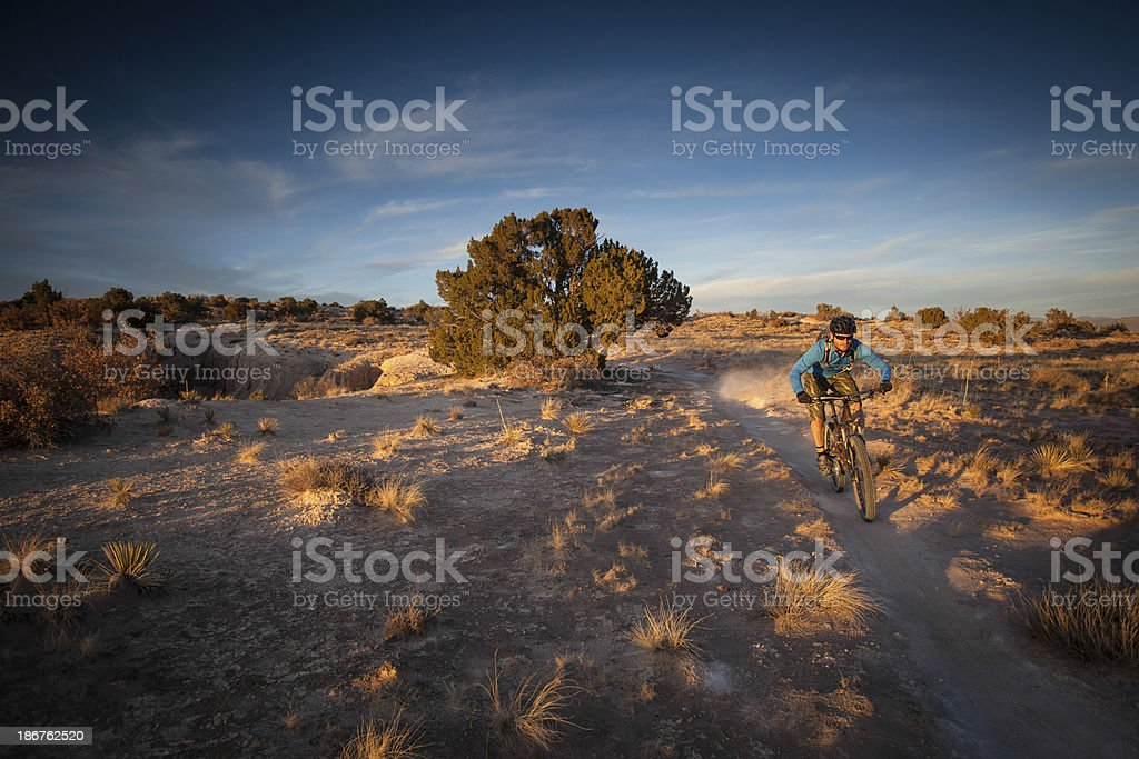 desert mountain biker landscape royalty-free stock photo