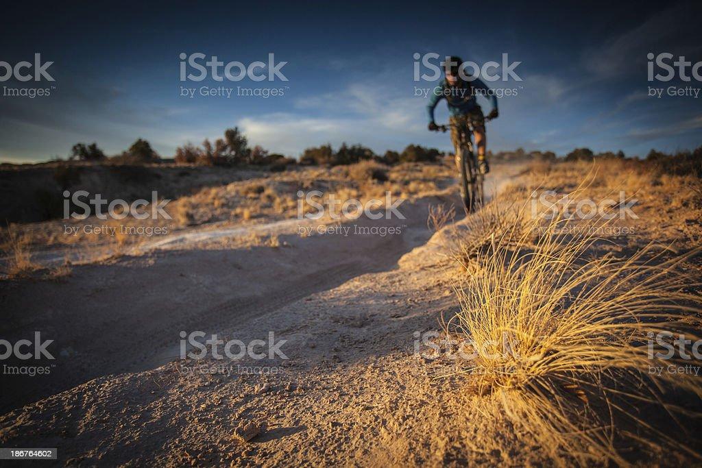 desert mountain biker landscape royalty-free stock photo