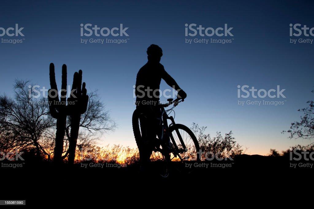 Desert Mountain Biker Sunset royalty-free stock photo