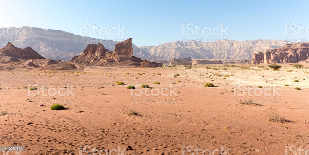 Desert mountains ridge stone sand panorama landscape. stock photo