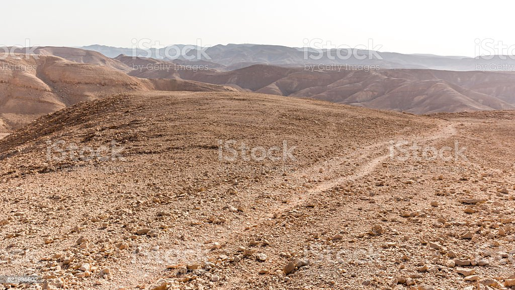 Desert mountains trail valley landscape view, Israel nature. stock photo