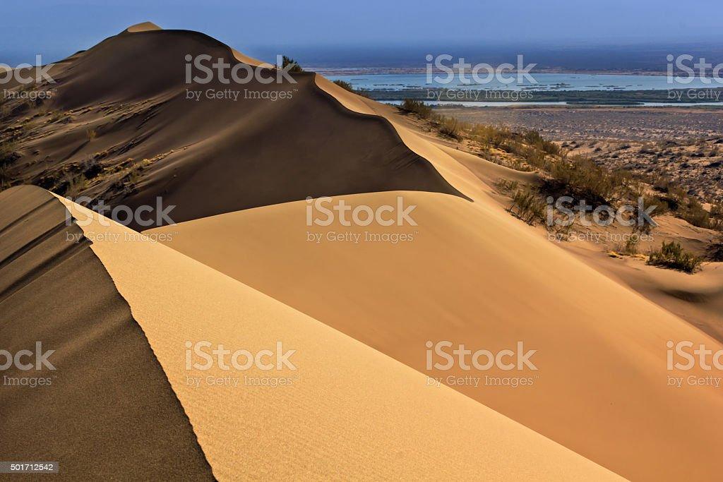 Desert of Kazahstan, sandy barkhan stock photo