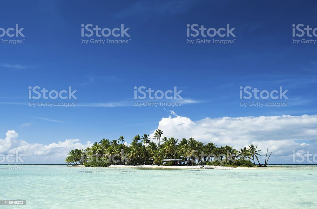 Desert or uninhabited island in the Pacific Ocean royalty-free stock photo