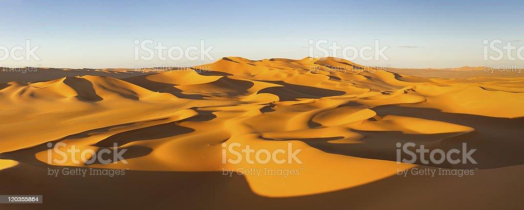 Desert Panorama - Sand Dunes, Erg Murzuq, Sahara, Libya stock photo
