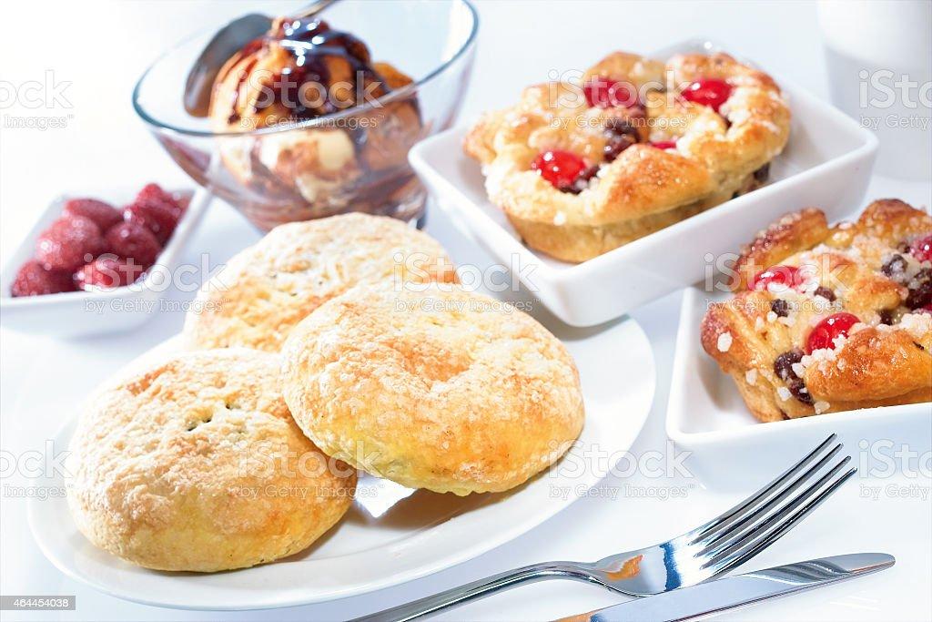 Desert pastries and profiteroles selection stock photo