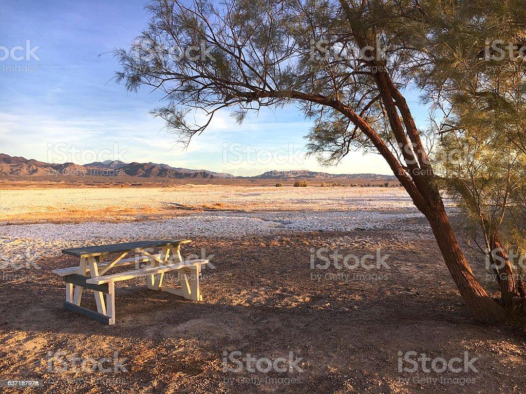 Desert picnic site stock photo