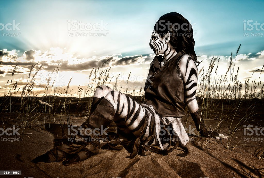 Desert Queen - Humanoid Zebra stock photo