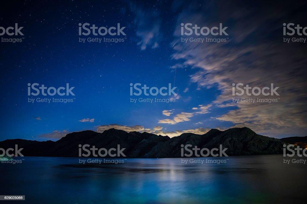 Desert River Sunset stock photo