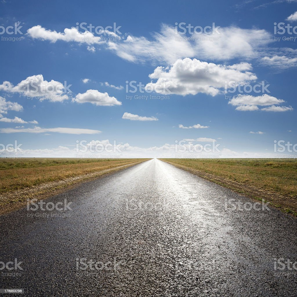 Desert Road and Dramatic Sky stock photo