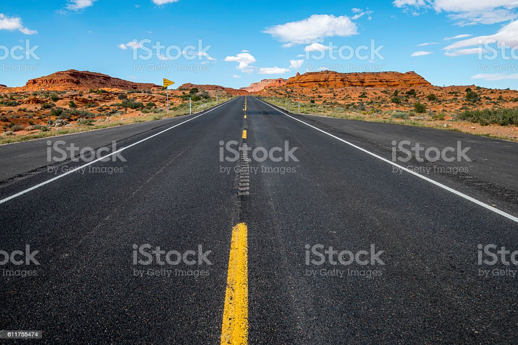 Desert Road Highway 163 Panorama stock photo