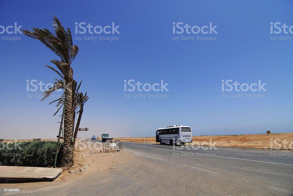 desert road in egypt stock photo
