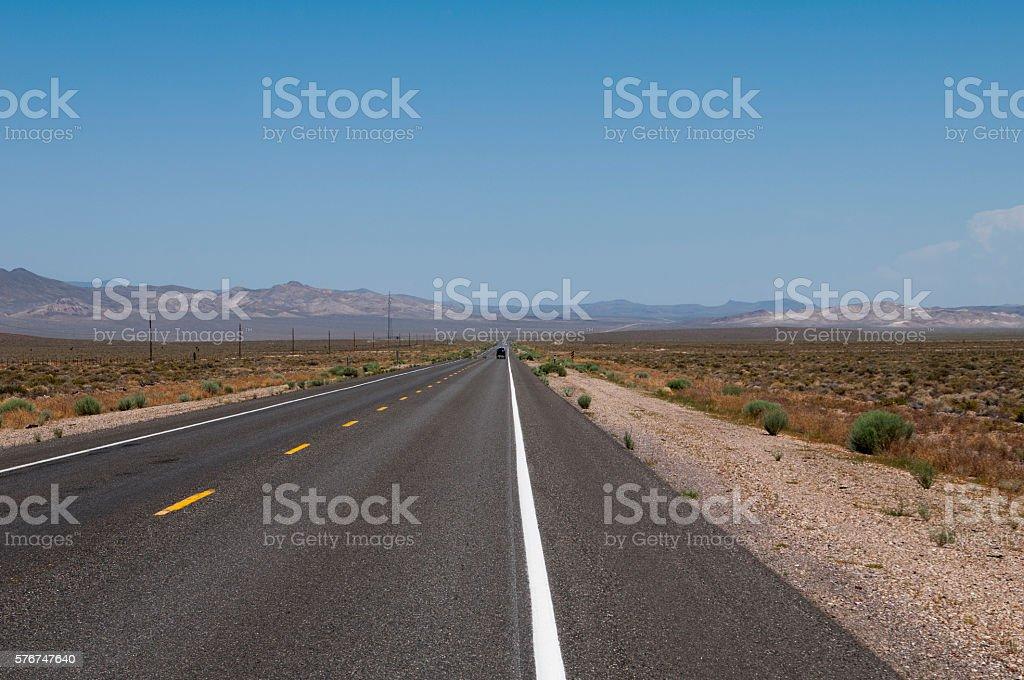 Desert Road in Nevada stock photo