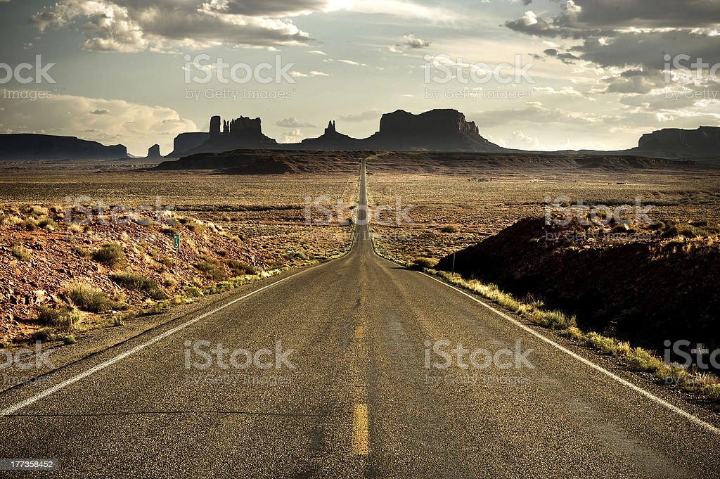 Desert road near Monument Valley stock photo