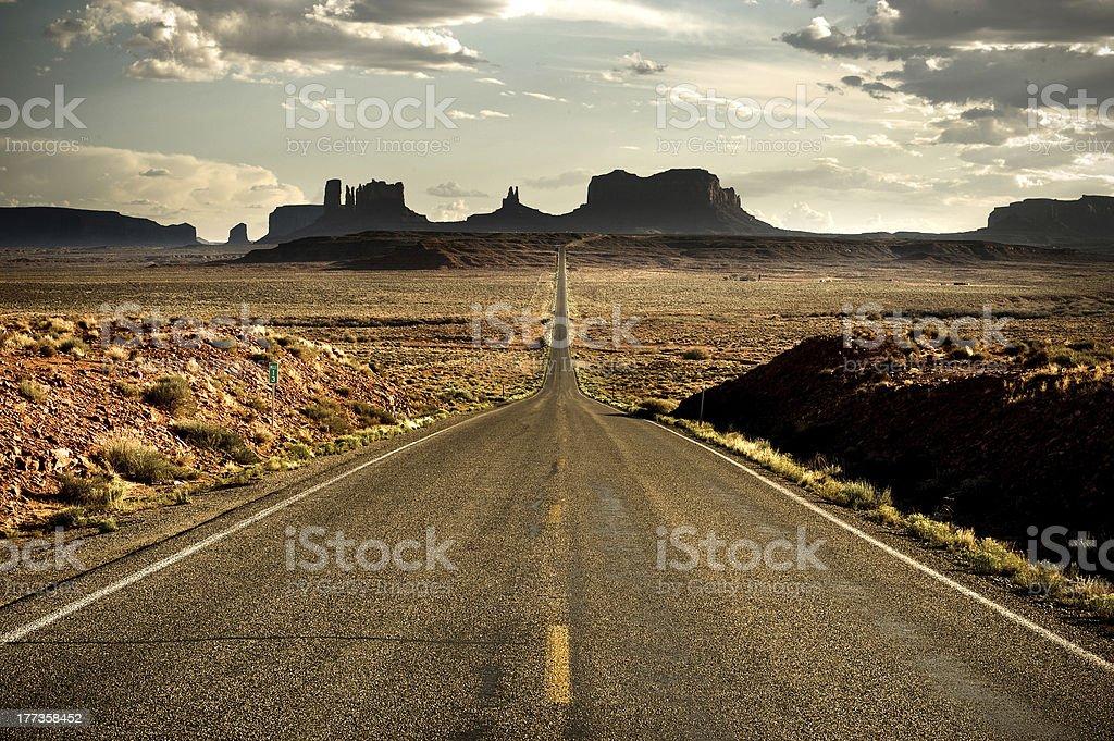 Desert road near Monument Valley stock photo
