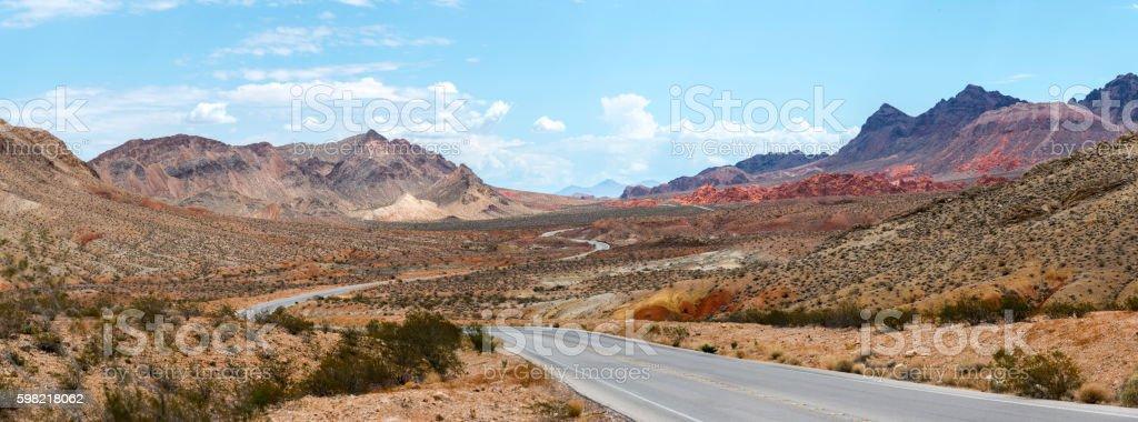 Desert Road Panorama stock photo