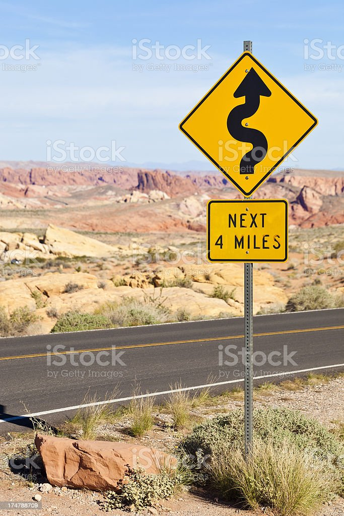 Desert Road Sign In Nevada stock photo