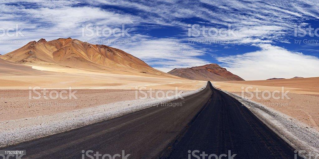 Desert road through the Altiplano, Chile, altitude 4700m royalty-free stock photo
