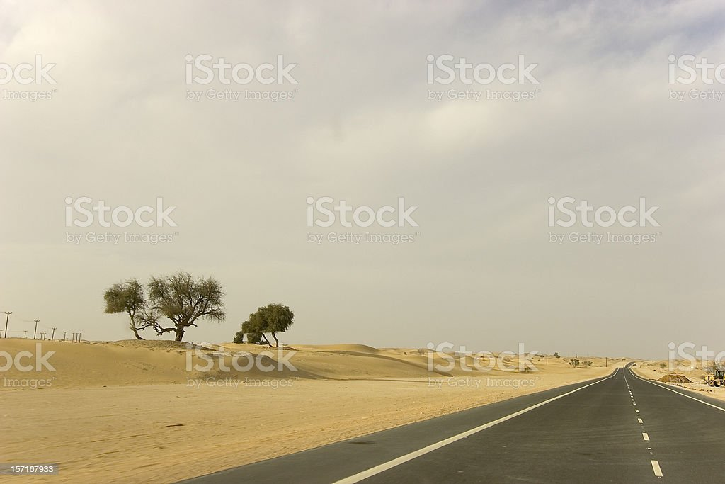 Desert road to nowhere stock photo