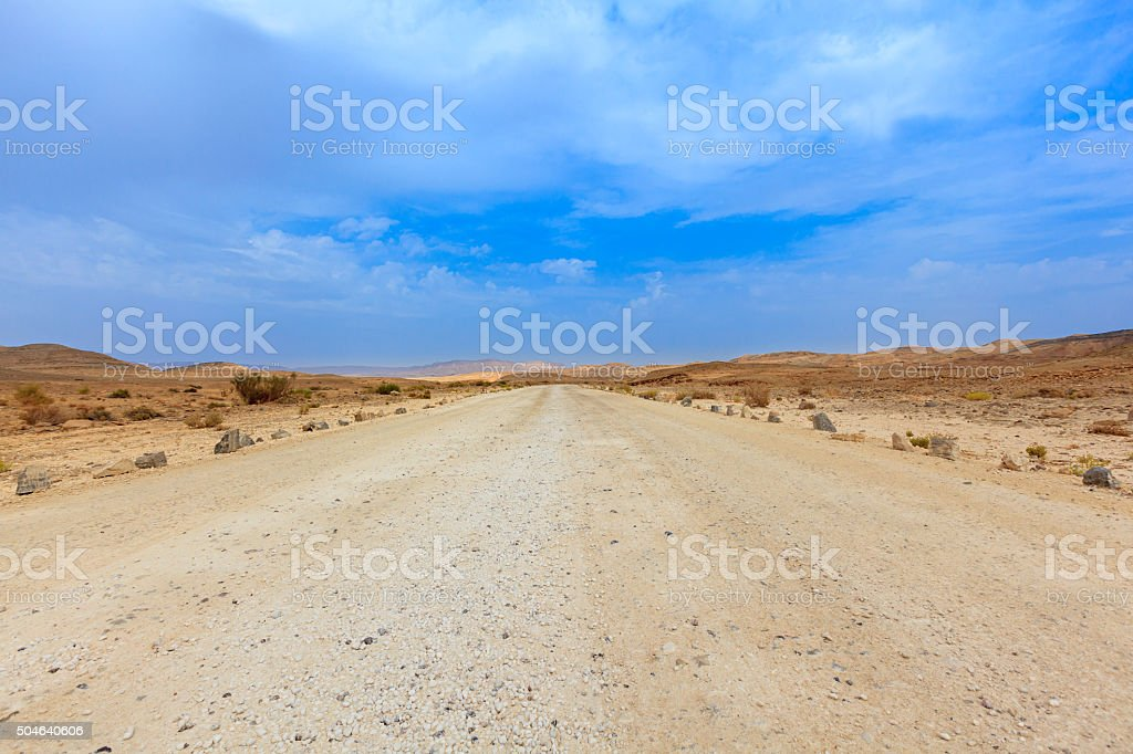 Desert road to nowhere stock photo