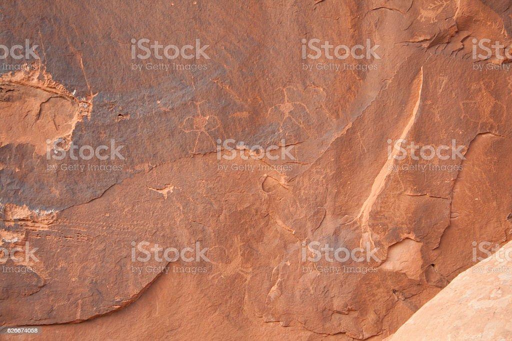 Desert Rock Petroglyphs stock photo